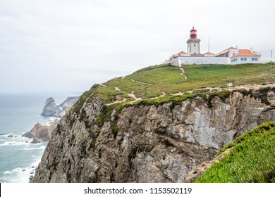 The beautiful seaside landscape and the rocky coastline of Atlantic ocean near Cabo da Roca (Cape Roca) - the most western part of Europe, located near Lisbon in Portugal