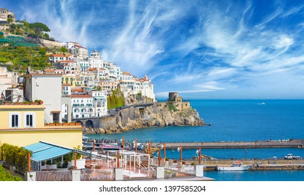 Beautiful seaside town Amalfi in province of Salerno, region of Campania, Italy. Amalfi coast is popular travel and holyday destination in Europe.