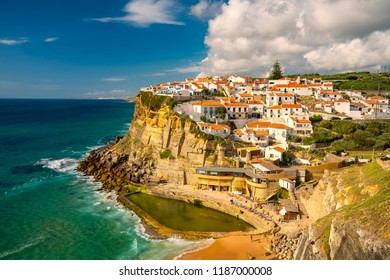 The beautiful seaside town Azenhas do Mar, Portugal, in afternoon light