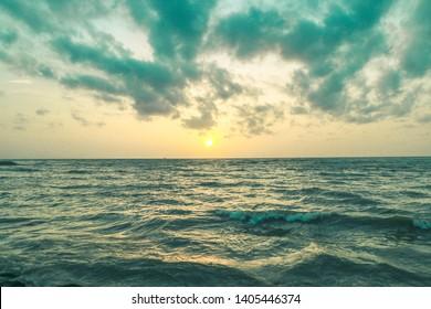 Beautiful seaside waving sea landscape