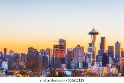 beautiful Seattle city scape  at sunset,Washington,usa.