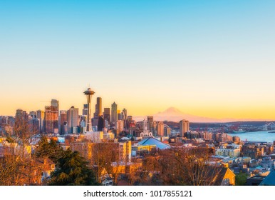 beautiful Seattle city skyline on the sunset,Washington,usa.