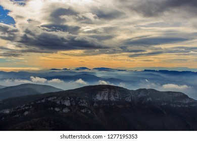 It is beautiful to see the mountains at dawn with the low clouds and the fog from the Puig Bassegoda