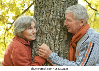 Beautiful Senior couple in autumn park