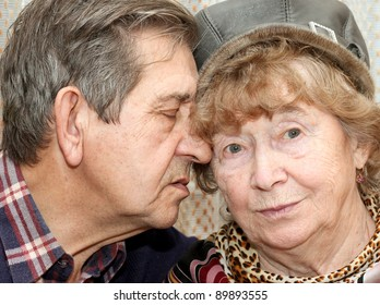 beautiful senior couple kissing