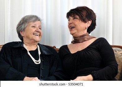 Beautiful senior mother and her daughter