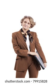 Beautiful senior woman holding a laptop computer (isolated on white)