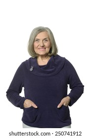 Beautiful Senior woman on white background