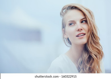 Beautiful sensual blond girl portrait