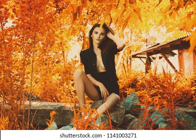 beautiful sensual girl in black suit seated on rocks in autumn park
