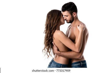 beautiful sensual half naked couple in jeans isolated on white