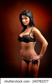 beautiful sensual woman posing in lingerie, studio shot