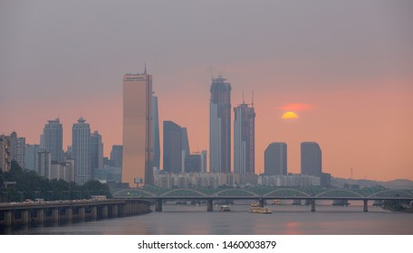Beautiful Seoul City Skyline View at Hangang Bridge in Seoul South Korea, 8 July 2019 in Seoul South Korea