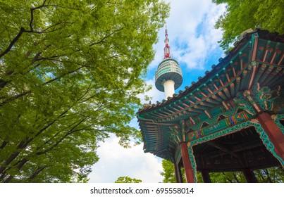 Beautiful Seoul Tower on Namsan Mountain, South Korea
