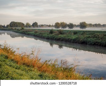 Beautiful September sunrise over the Mechels Broek nature park and the river Dijle, just outside of Mechelen, Belgium