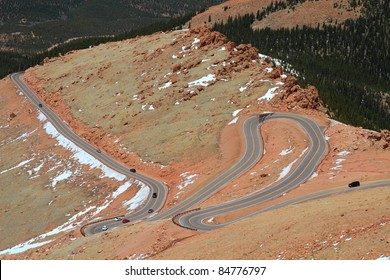 Beautiful serpentine road winding up to the Pikes Peak Mountain, Colorado, USA