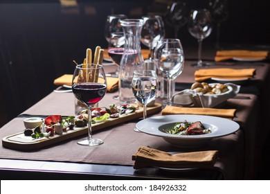 Beautiful served food on plates