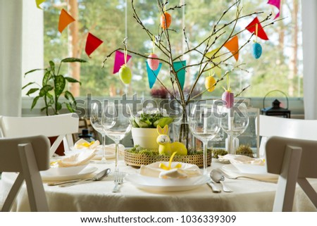 Beautiful Served Round Table With Decorations In Dining Room. Little Yellow  Bunny, Willow Branches