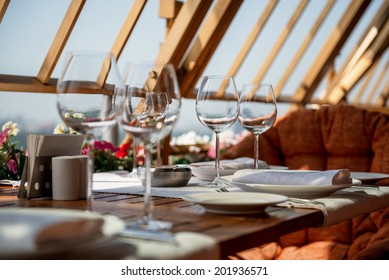 Beautiful served table on balcony in luxury restaurant