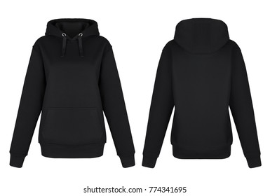 Beautiful set, black sweatshirt, hoodie, hooded sweatshirt and front pier, front view and back, clipping, ghost mannequin, isolated on white background, mockup, blank