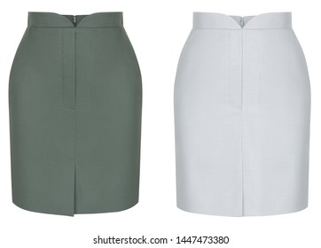 Beautiful set, classic luxury women's white and green skirts, front view, plain, isolated on white background, ghost mannequin, blank, mockup