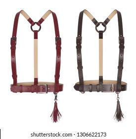 Beautiful set of leather belts harness for women with tassels, ghost mannequin, clipping, isolated on white background, maroon-red and brown