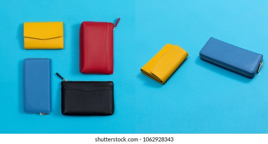 Beautiful set of leather multicolored purses, wallets, blue, yellow, red and black, laying on a bluebright paper background, mock up