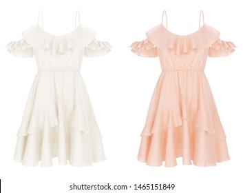 Beautiful set, luxurious female pink and ivory silk summer dress with ruffles and straps, front view, clipping, ghost mannequin, isolated on white background
