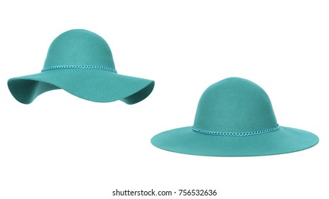 Beautiful set, luxurious woolen hat two kinds, turquoise with chain decor, autumnal, winter, isolated on white background, clipping
