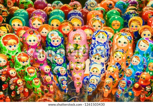 Beautiful Set of  Nesting Dolls or Matryoshka,  Russian Wooden Doll  Souvenir