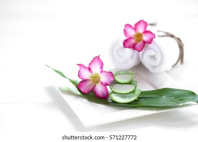Beautiful set of spa on soft background.