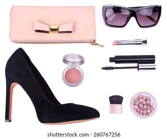 beautiful set of women's fashion accessories and cosmetics on white background, isolated
