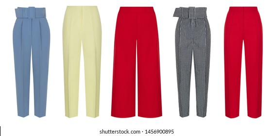 Beautiful set of women's trousers, blue, black and white checkered with a belt, red and yellow, in front of the view, a ghost mannequin, isolated on white background, clipping