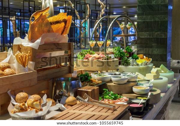 Beautiful Setup Bread Salad Bar Station Stock Photo (Edit