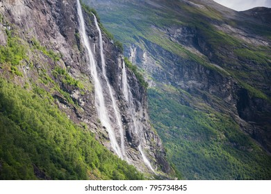 Beautiful seven sisters waterfall in Geiranger, Norway