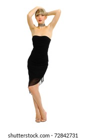 Beautiful sexual girl blonde in black short gown on white background