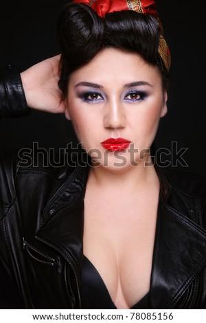 Beautiful Sexy Asian Girl Rockabilly Style Stock Photo Edit Now