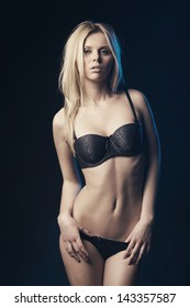 beautiful sexy blond girl studio shot