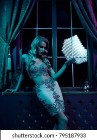 Beautiful sexy blonde woman in the nightclub,glam party