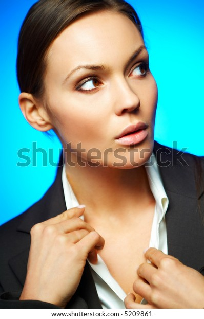 Beautiful and sexy brunette business woman isolated on clear background