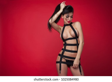 Beautiful sexy brunette model with lovely long hair and a curvaceous body posing in black lingerie on a red studio background with vignetting
