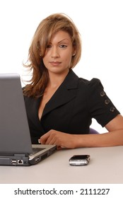 Beautiful and sexy business lady working on computer