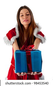 Beautiful and sexy christmas woman with gift