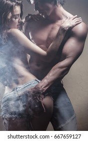 Beautiful sexy couple is embracing. Gentle passion