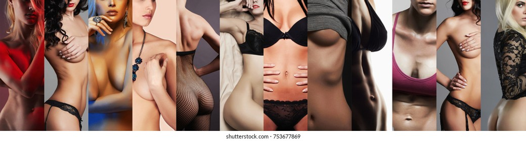beautiful and sexy female body parts.different naked women beauty collage.