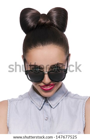 93695233f Beautiful sexy girl with hairstyle, hairstyle is bow, girl in sunglasses,  isolated on a white background - Image