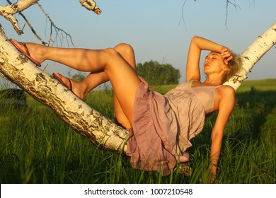 Beautiful sexy girl relax on summer sunet meadow.