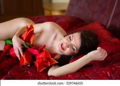 Beautiful sexy girl resting in bed