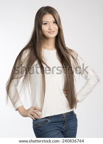 Beautiful Sexy Girl Is Smiling In Studio