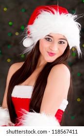 beautiful sexy girl, wearing santa claus clothes